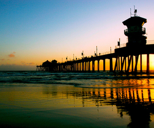 sunset, beach, and pier image