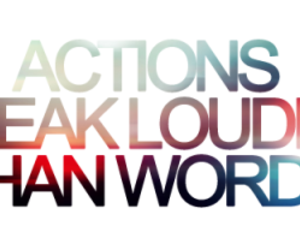 Action, words, and text image