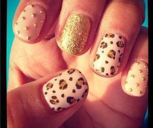 nails, glitter, and leopard image