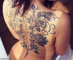 tattoo, rose, and back image