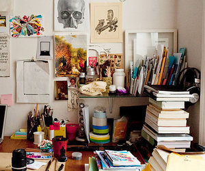 book, art, and desk image