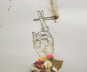 flowers, smoke, and cigarette image