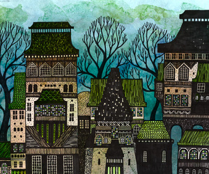 Houses and illustration image