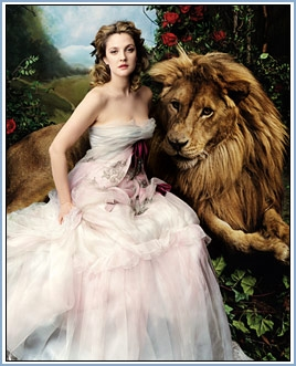 drew barrymore, lion, and beauty and the beast image