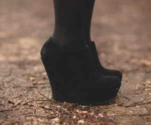 black, black shoes, and booties image
