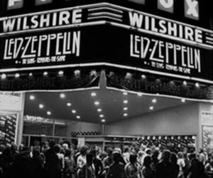 led zeppelin and black and white image