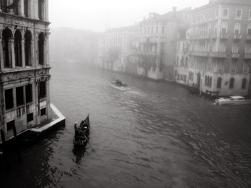 black and white and venice image
