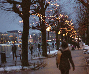 light, winter, and city image