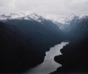 mountains, river, and snow image