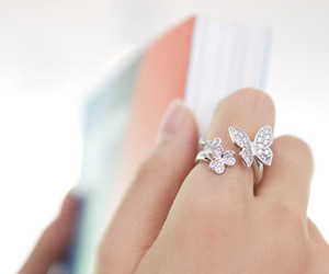 hand, ring, and butterfly ring image