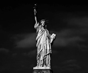 black and white, liberty, and statue image