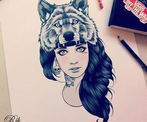 girl, wolf, and drawing image