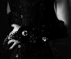 corset, gothic, and black and white image