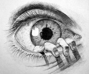 eye, eyes, and hand image