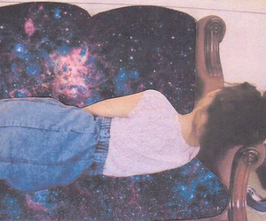 girl, hipster, and galaxy image