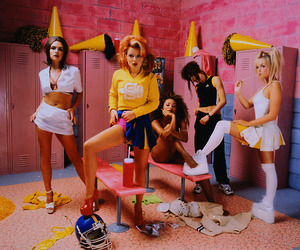 locker room, spice girls, and pink & yellow image