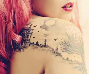 pink hair and Tattoos image