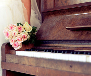 piano, rose, and flowers image