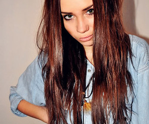 brown hair, long hair, and denim image