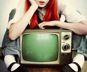 girl, red, and tv image