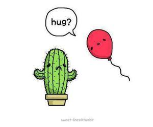 hug, cactus, and balloon image