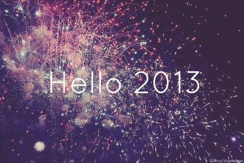 Fireworks behind the words Hello 2013.