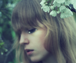 bangs, flower, and photography image