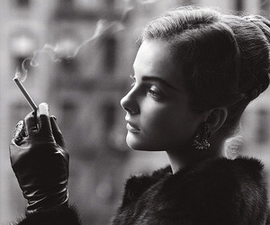 girl, cigarette, and black and white image