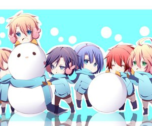 anime, blue, and snowman image