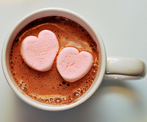 hot ​chocolate, hearts, and marshmallow image
