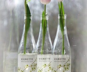 bottles, flowers, and pink image