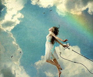 girl, sky, and fly image