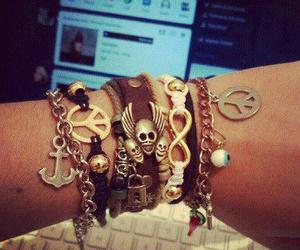 bracelet, peace, and skull image