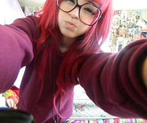 Nerdy blonde teen emo girl