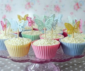 butterfly, cupcake, and cake image