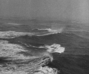 black and white, sea, and ocean image