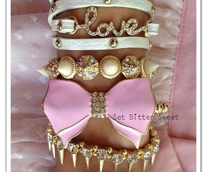 girl, pink, and bracelet image