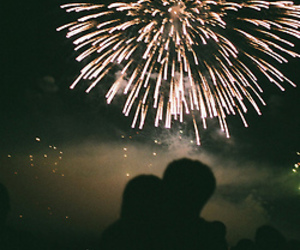 love, fireworks, and couple image