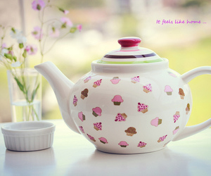 cupcake, tea, and teapot image