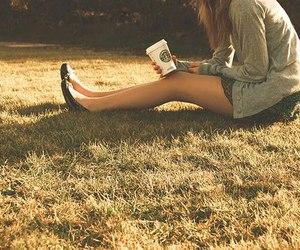 girl, starbucks, and grass image