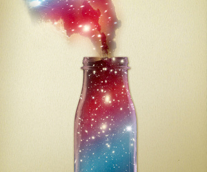 bottle, galaxy, and stars image