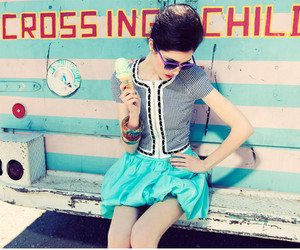 girl, blue, and ice cream image