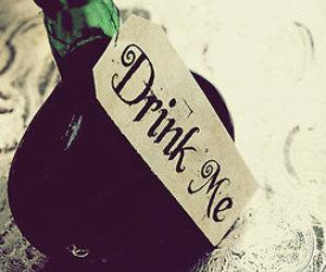 drink me, drink, and bottle image