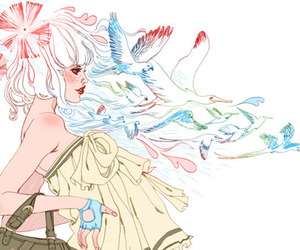 drawing, illustration, and birds image
