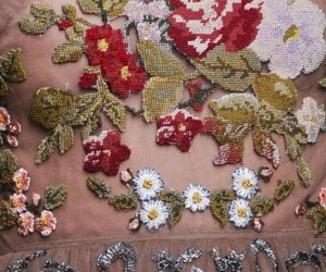 embroider, textile, and flowers image