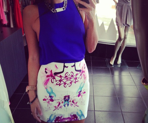 outfit, watch, and skirt image