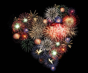 heart, fireworks, and love image
