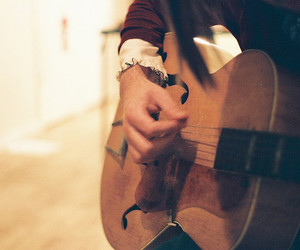 boy, guitar, and hand image