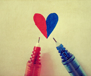 love, heart, and blue image