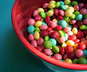 food, skittles, and candy image